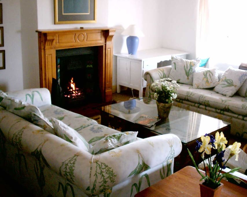 Comfy couches with lovely antique fireplace