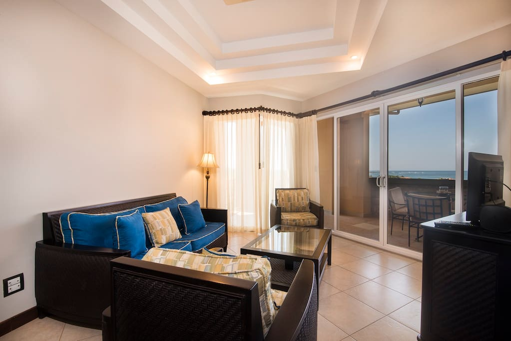 Living area, with views of the Pacific