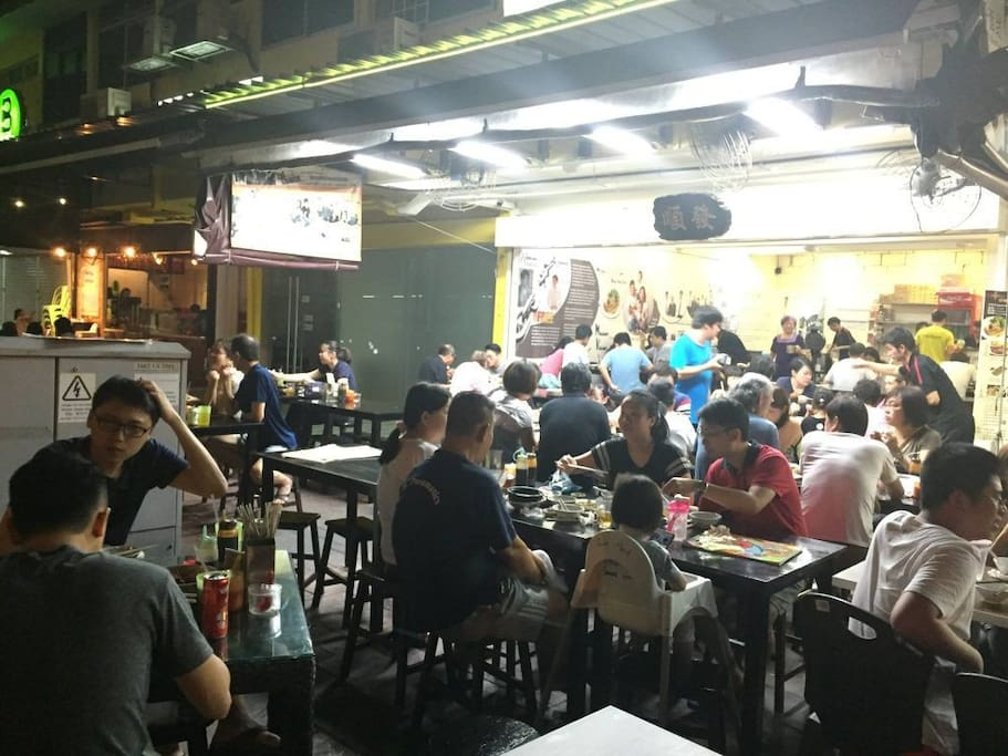 Bustling nightlife with local delicacies nearby