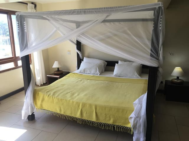 Bedroom 1 - with a large King Size bed. Has an ensuite bathroom