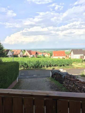 Du haut de votre balcon privée admirez la vue sur la plaine d'Alsace.