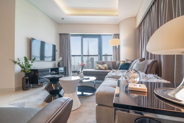 Wohnzimmerecke mit Blick aufs Burj-Khalifa!