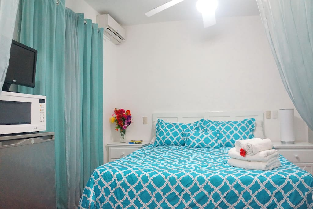 Bedroom with queen bed, AC, TV and wardrobes
