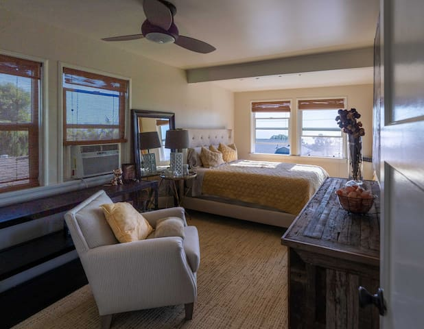 bedroom comes with a portable a/c but there are lots of natural air from the ocean breeze
