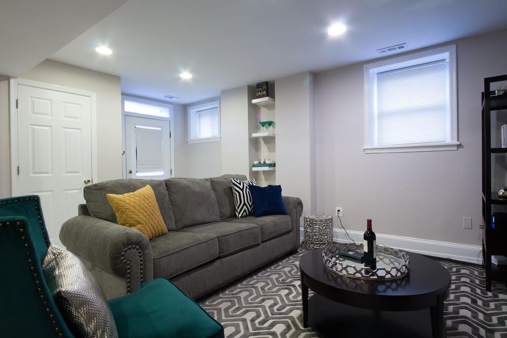 Queen sleeper sofa in living space