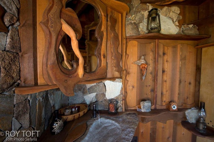Wood craft kitchen in real-life Hobbit home in San Diego, California