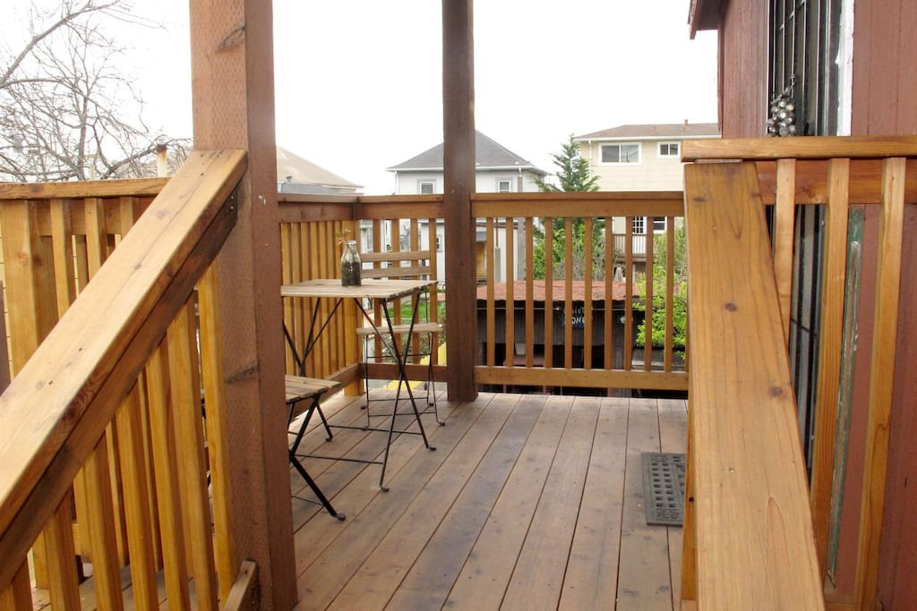 Staircase landing and private patio