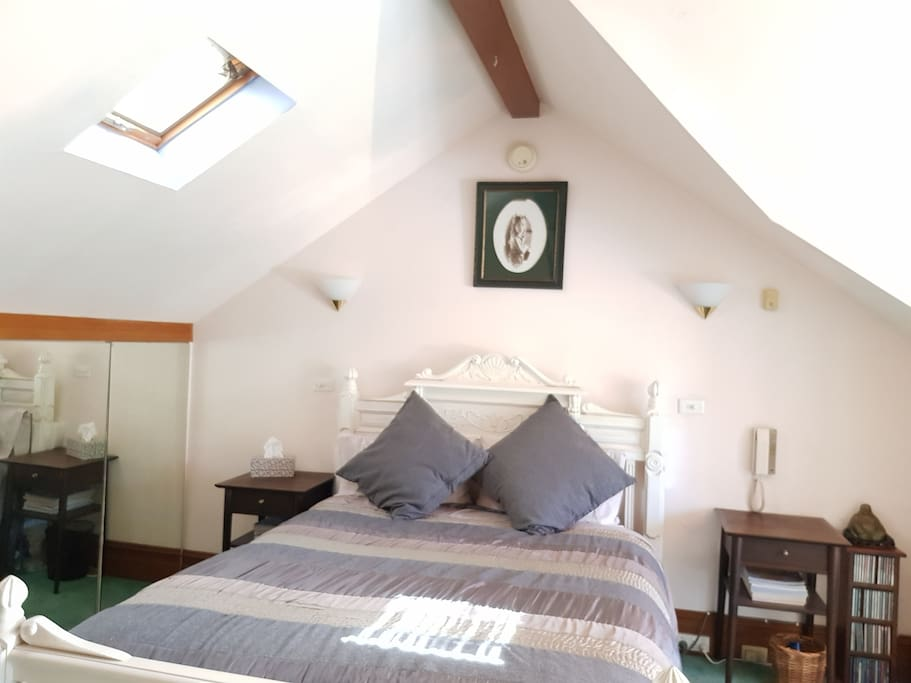 This room is light and airy and has the MOST comfortable mattress as it was made three times to my specifications before I would accept it. It has all natural materials - no rubber, plastic foam or memory foam!