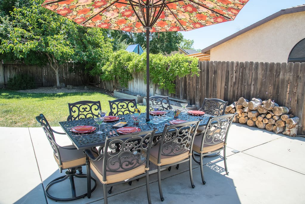Shady and comfortable patio seating for 8.