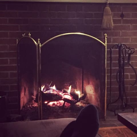 Relaxing by the fireplace