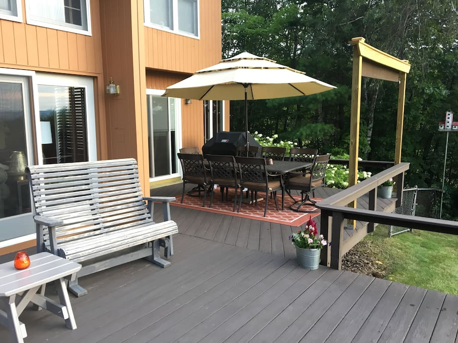 Plenty of room to sit back and relax on the deck while dinner is grilling on the Weber Genesis 3 burner propane grill
