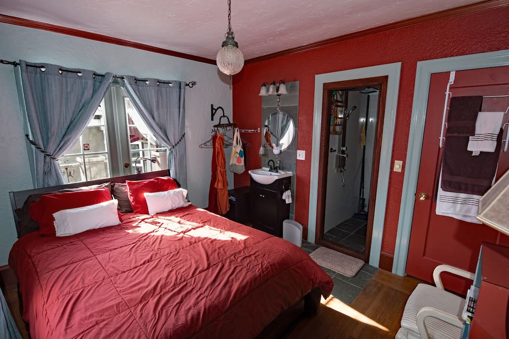 doors behind the bed go to your private balcony