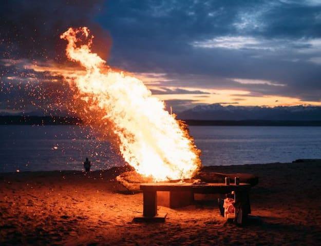 The Festive Bonfire On The Beach