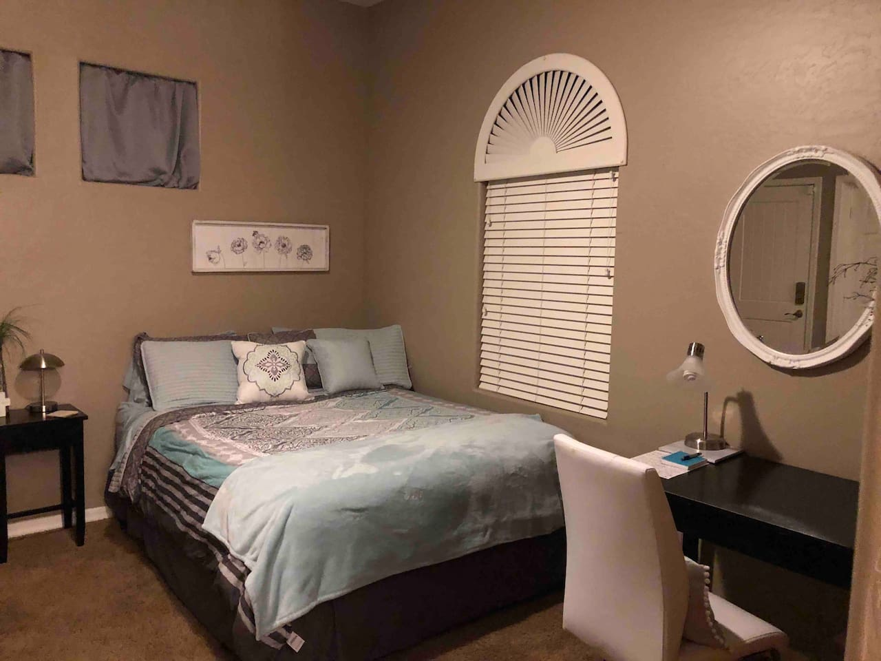 Rest with some sweet sleep in this mother in law suite that includes a desk for work space, mini fridge, microwave Krueg coffee maker, large flat screen tv with direct tv-HBO, Showtime, Cinemax, Hillsong, and hundreds more and a private keyless entry