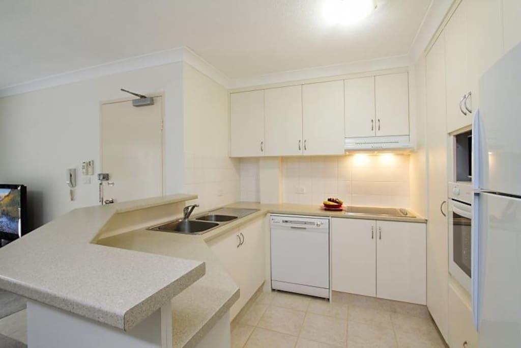 Large kitchen with dishwasher