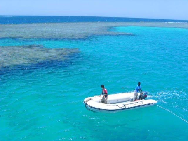 Rotes Meer mit kristallklarem Wasser und vielen Korallenriffen