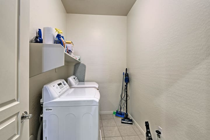 The unit includes a washer and dryer.