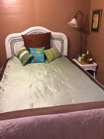 Queen bed is comfy with foam topper and lots of blankets available.