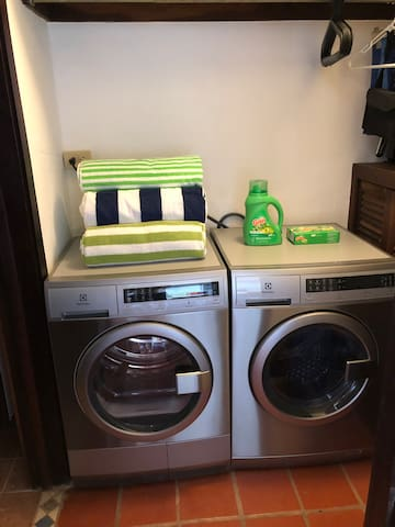 High efficiency washer and dryer - Detergent and dryer sheets are complimentary.
