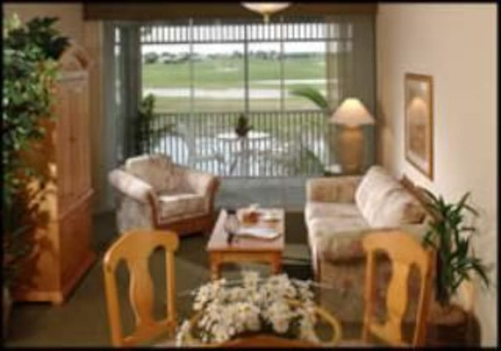 Open concept living room/dinning room.  Open to the kitchen.  Couch is a queen size sleeper sofa.