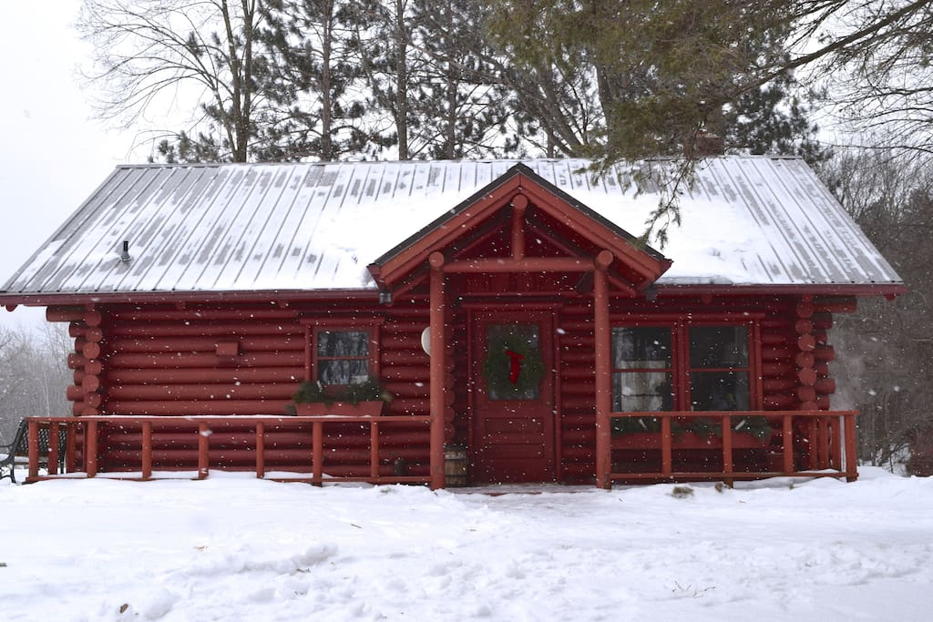 Cedar Log Cabin in Winter