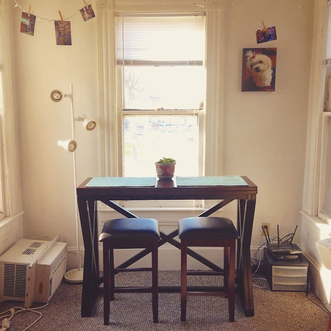breakfast nook with natural lighting. A/C is installed for the warmer months
