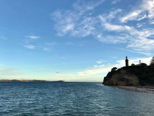 Looking toward the RIP, the entrance to Bass Strait.  Point Nepean on the left, is a great place for a day trip. The Queenscliff Fort and black lighthouse on the right.