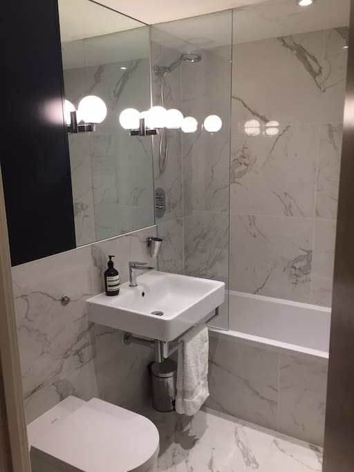 Brand new bathroom with heated de-mist mirror
