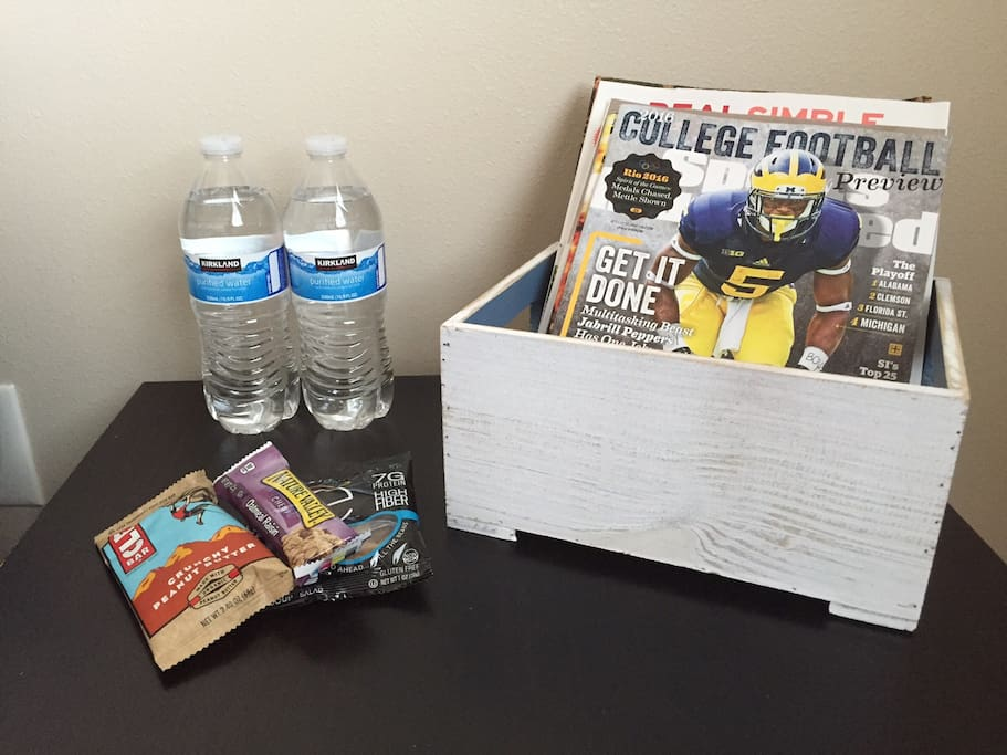 Bottled water and snacks will be ready in your room when you arrive