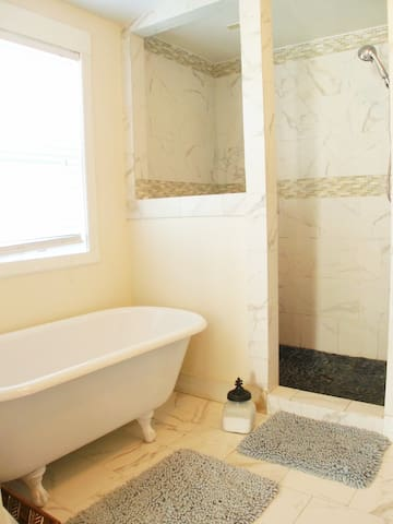 Vintage but completely updated bath with claw foot tub.