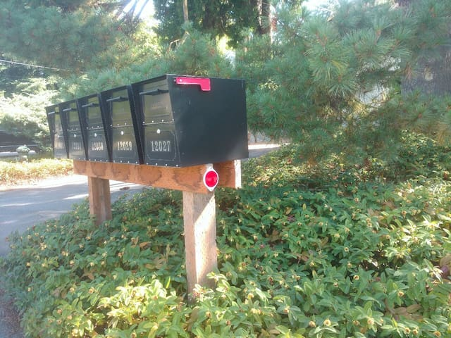 Our house (address available upon reservation) is located on the east side of the street.  Look for a grouping of 5 mailboxes with a RED REFLECTOR as shown.  We are up a long driveway to the RIGHT of the mailboxes/reflector.