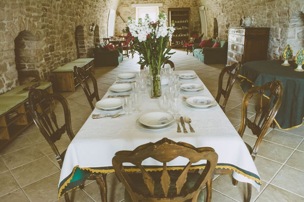 Dinning room with ancient stone arches