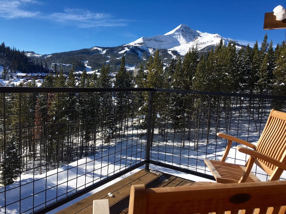 Walk out on to the balcony: it's called Big Sky for a reason!  (Now sit down and have a cup of coffee and enjoy the sunshine and snow!)