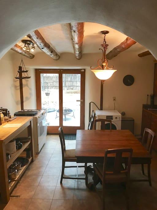 Kitchen and patio door.