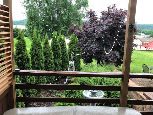 View from the deck, solar lighting adds the right amount of ambience for a soak in the hot tub (located in the deck).