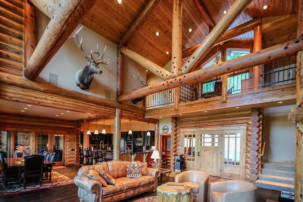 Rustic finishes and wood accents lend striking mountain flavor.