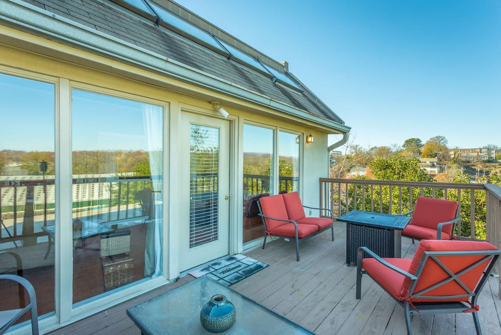 Relax on the deck has an excellent view of the river and a gas fireplace.