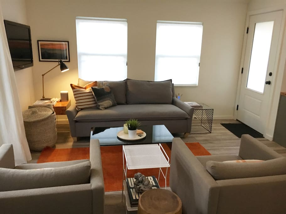 cozy living room with lots of light
