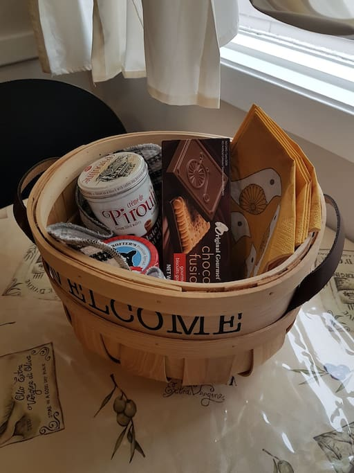 Enjoy the goodies in the Welcome Basket