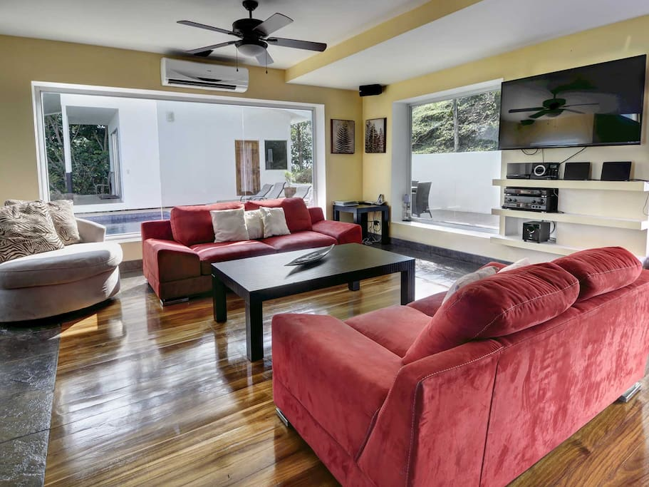 Living area with large screen Smart TV and surround sound