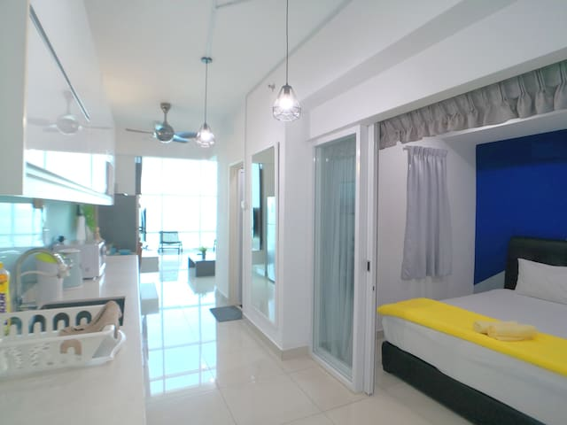 There is 1 king size bed at the ground floor room. Once the glass sliding door and curtain are closed, you can enjoy your bed time in our comfy bedroom.