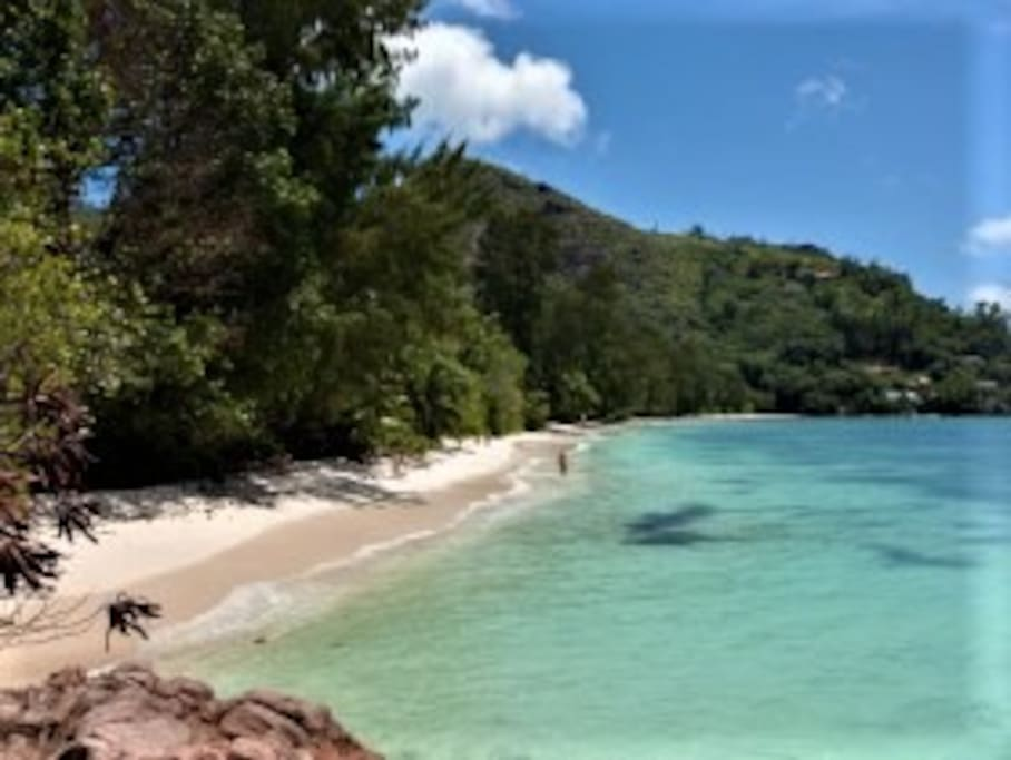 Anse La Blague beach, Praslin.  2 mins walk.