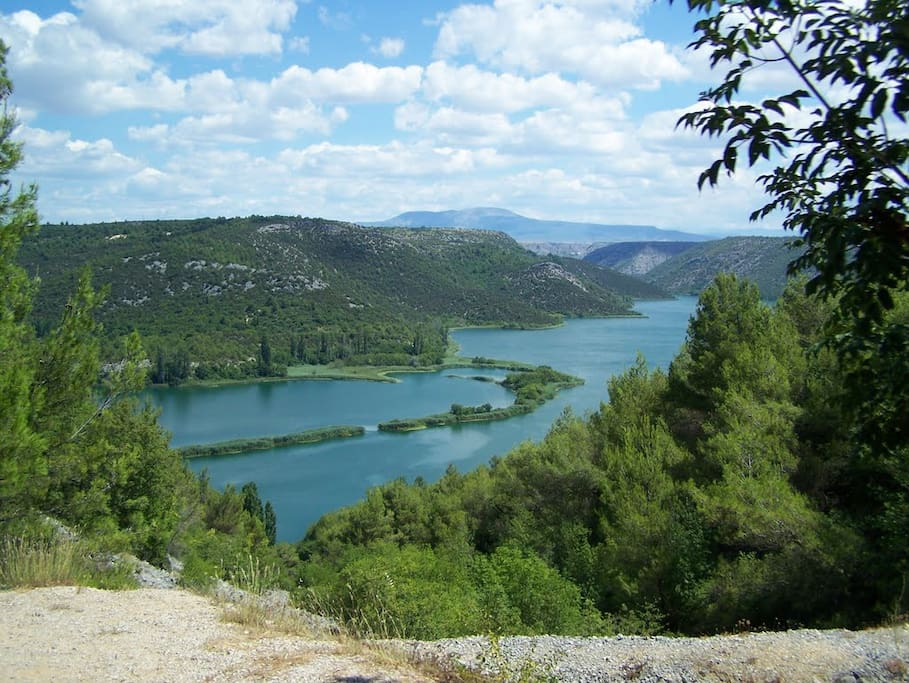 View from National Park Krka to top of mountain Promina, house is located under the mountain on 500 meters sea elevation. National Park Krka is one of best ones in whole Europe, million guests per year, and it is 25 km long, I am close to Brljan lake, and Roski Slap, upper part of Park. Driving is necessary.
