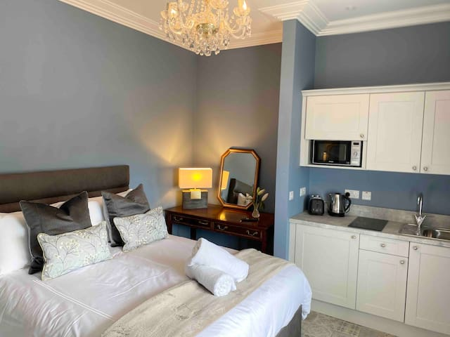 Antique & contemporary! Bathed in light from the large Georgian window the magnificent finishes radiate style & elegance. The restored original window panels add character to each room in the house. The morning light in this room is magical.