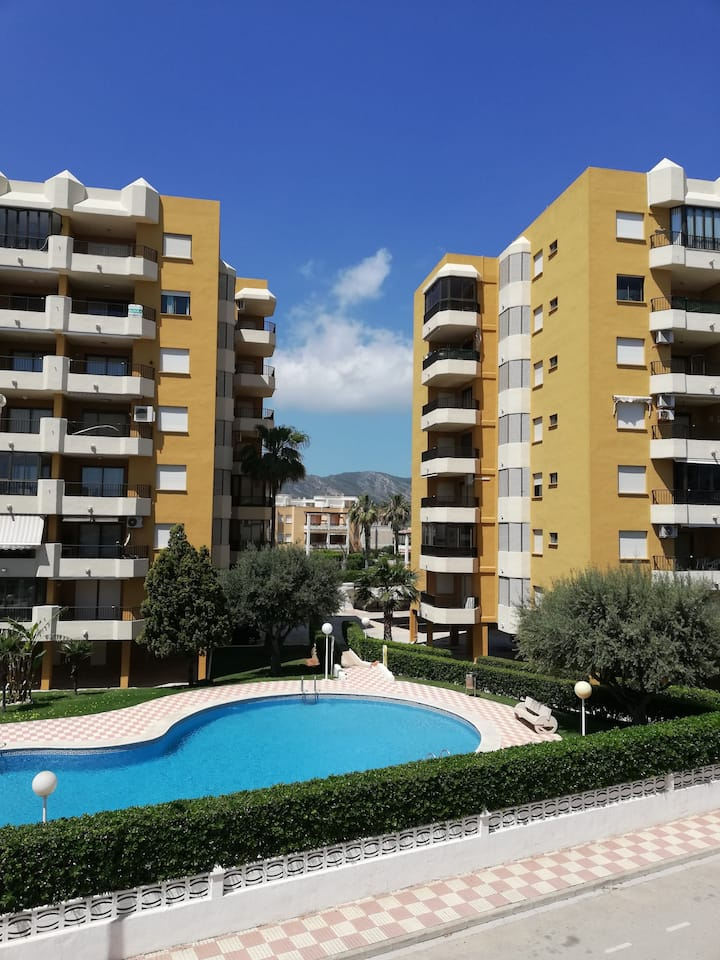 Apartment with large terrace with a sea view. Offers pool and garage!