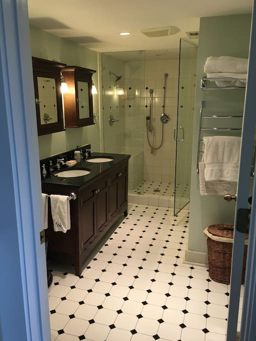 newly renovated hall bathroom for exclusive use of king bedroom guests