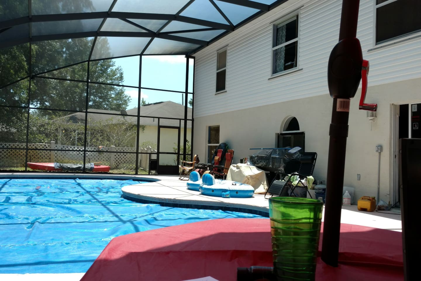 The pool is awesome.  Its a pretty large pool.  3 feet on ether end and 6 feet in the middle.  On the lanai there is also the awesome hot tub, tables and cookout grill as well.
