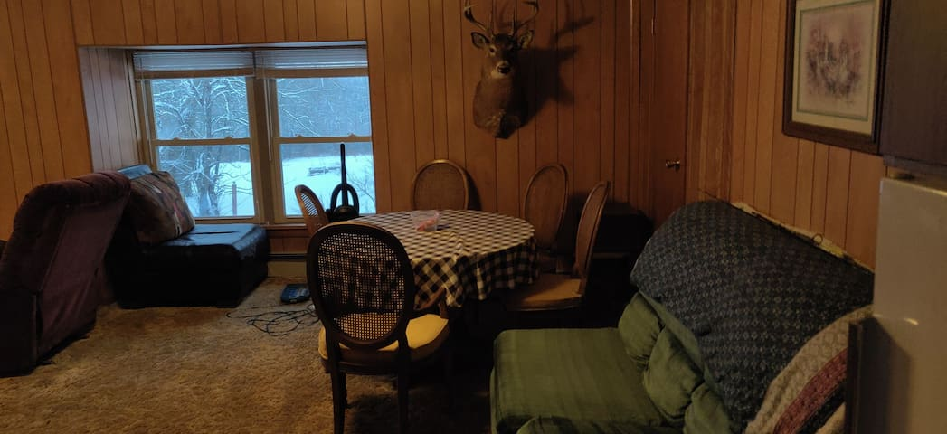Air conditioned living room dining and kitchen area with full kitchen. New recliner and new sleeper sofa. Xfinity wifi and Comcast cable included.
