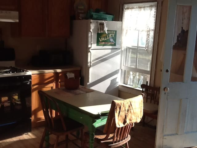 kitchen, with views looking out to the bay.