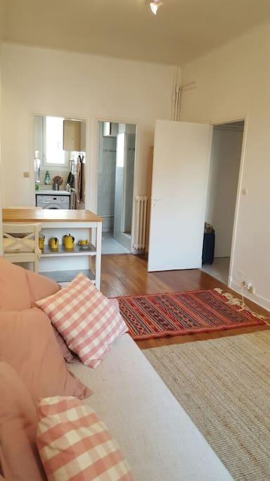 Canapé-lit dépliable facilement en un lit 2 places, avec télévision.